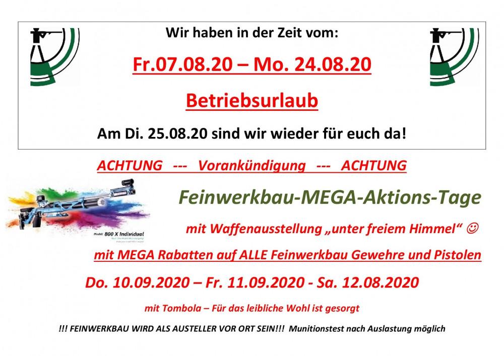 Urlaub und Feinwerkbau Aktions Tage 2020