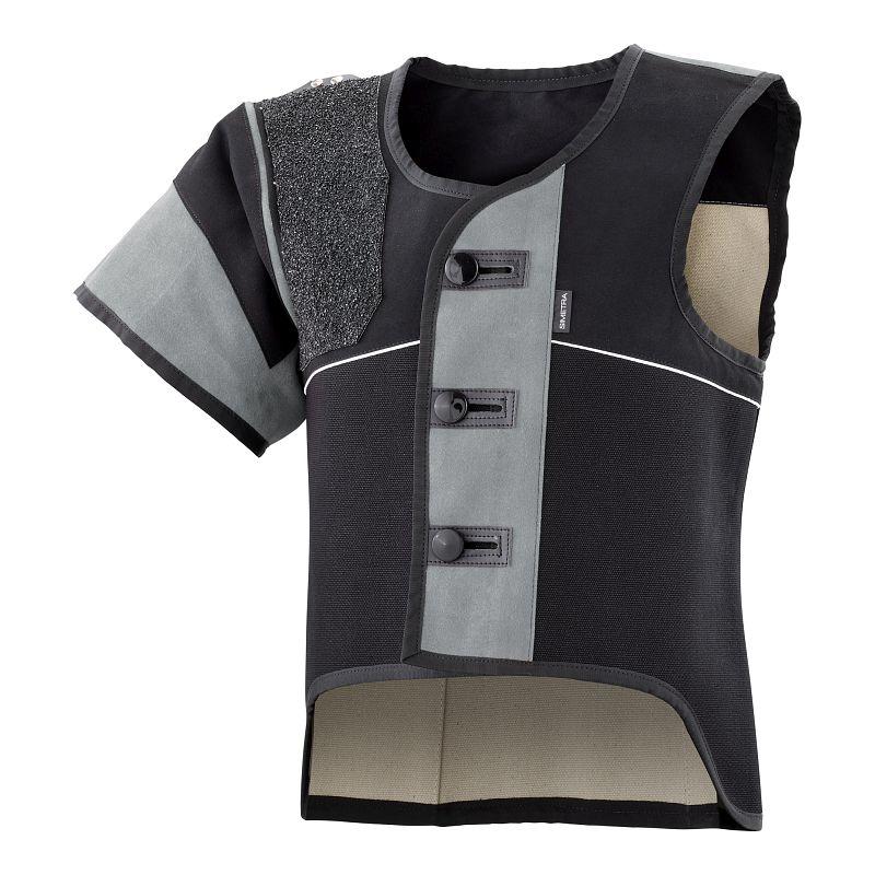 Auflage-Schießsportweste Simetra PRIMOFIT 10 - schwarz/grau - Sitzend