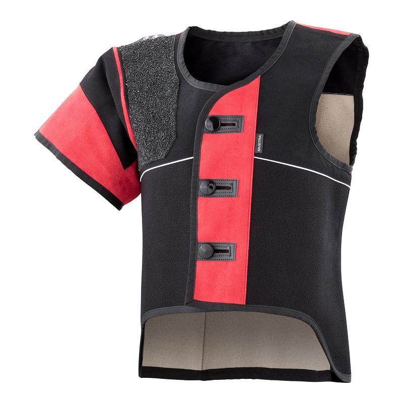 Auflage-Schießsportweste Simetra PRIMOFIT 10 - schwarz/rot - Sitzend
