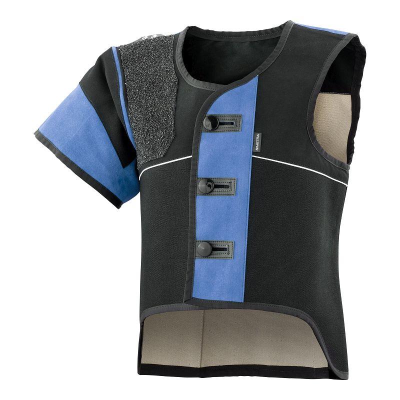 Auflage-Schießsportweste Simetra PRIMOFIT 10 - schwarz/blau - Sitzend